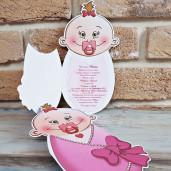 Invitatie de botez bebelus roz 8023 SEDEF
