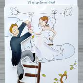 Invitatie de nunta haioasa cu mire si mireasa 1119 Polen
