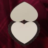 Invitatie PREMIUM din lemn inima cu dantela 26001 TBZ