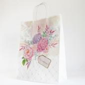 Punga florala cu hortensii cu maner de hartie rasucit PN 11004