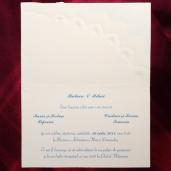 Invitatie de nunta crem cu inimioare albastre si aurii 114213 TBZ