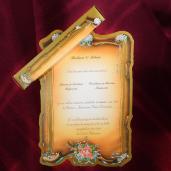 Invitatie de nunta papirus maro cu floricele 119040 TBZ