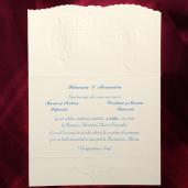 Invitatie de nunta cu miri si rama din flori 124072 TBZ