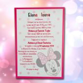 Invitatie de botez roz cu Minnie Mouse 100 LARA BABY