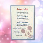 Invitatie de botez albastra cu Mickey Mouse 101 LARA BABY - BEST