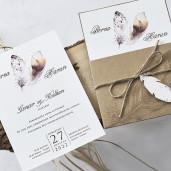 Invitatie de nunta cu pene 1153 BUTIQLINE
