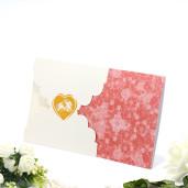 Invitatie de nunta cu verighete si inimioara crem si visiniu 115428 TBZ
