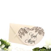 Invitatie de nunta crem cu maro in forma de inimioara 115430 TBZ