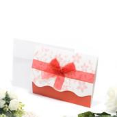 Invitatie de nunta alba si rosie cu fundita rosie 115439 TBZ