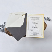 Invitatie cu model de marmura si chenar auriu 1175 BUTIQLINE