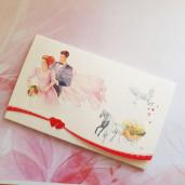 Invitatie de nunta cu miri, caleasca si porumbei 124044 TBZ