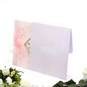 Invitatie de nunta roz cu fundita 125014 TBZ