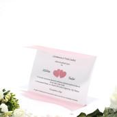 Invitatie de nunta cu calc roz si inimioare 150009 TBZ