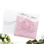 Invitatie de nunta cu calc roz cu trandafir 150016 TBZ