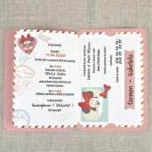 Invitatie de botez tip pasaport cu Minnie Mouse 15706 DELUXE
