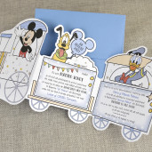 Invitatie de botez cu Mickey Mouse in tren 15723 DELUXE