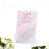 Invitatie de nunta florala cu calc roz si fundita 160010 TBZ