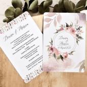 Invitatie de nunta stil acuarela cu floricele 39788 ECONOMIQ