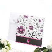 Invitatie de nunta gri sidef cu insertii florale roz si negru 2114 TBZ