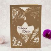 Invitatie de nunta aurie cu decupaje 2193 STYLISH