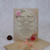 Invitatie de nunta vintage florala 2215 Polen