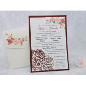 Invitatie de nunta florala crem cu visiniu 2229 POLEN