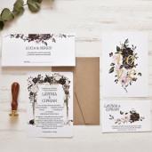 Invitatie de nunta chic cu trandafiri 39780 ECONOMIQ