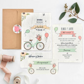 Invitatie vintage cu bicicleta 39737 CLARA