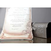 Invitatie 3D tip papirus in cufar cu fundita 34909 EMMA