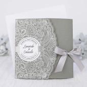 Invitatie gri cu detalii  florale 39231 CLARA