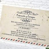 Invitatie vintage cu flori 39313 EMMA
