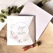 Invitatie de nunta boho chic cu bujori 39776 ECONOMIQ
