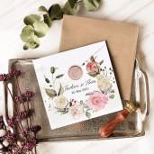 Invitatie de nunta vintage cu coronita flori 39777 ECONOMIQ