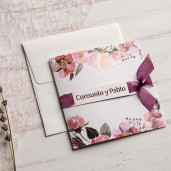 Invitatie eleganta florala cu fundita 39830 EMMA