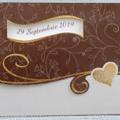 Invitatie de nunta maro cu inimioare aurii 35267 Polen