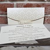 Invitatie de nunta cu fundita si perla 5487 CONCEPT