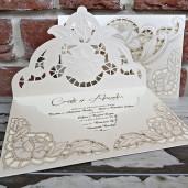 Invitatie de nunta crem sidef dantelata 5532 CONCEPT