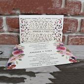 Invitatie de nunta baroc cu flori 5537 CONCEPT