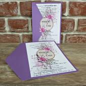 Invitatie de nunta mov cu flori 5599 CONCEPT