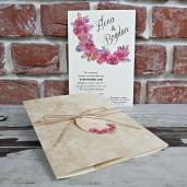 Invitatie de nunta rustica cu floricele 5611 CONCEPT