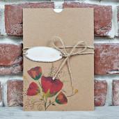 Invitatie de nunta rustica cu flori de mac 5647 CONCEPT