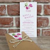 Invitatie de nunta rustica cu bujori 5650 CONCEPT