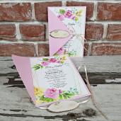 Invitatie de nunta cu flori si butucel 5667 CONCEPT