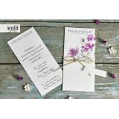Invitatie de nunta eleganta florala mov cu sfoara 70213 KRISTAL