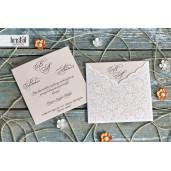 Invitatie de nunta florala dantelata 70221 KRISTAL