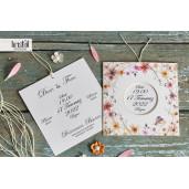 Invitatie de nunta florala cu fundita 70232 KRISTAL