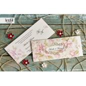 Invitatie de nunta florala cu auriu 70243 KRISTAL