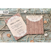Invitatie de nunta rustica cu dantela 70246 KRISTAL