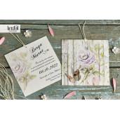 Invitatie de nunta florala cu fundita 70247 KRISTAL
