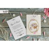 Invitatie de nunta florala cu fundita 70254 KRISTAL